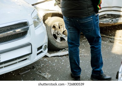 ODESSA, UKRAINE - September 30, 2017: car accident on highway.  traffic accident on street, damaged cars after collision in city.  road accident. Traffic jam. congestion