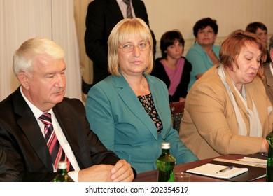 Odessa, Ukraine - September 4, 2010: Tsetska Tsacheva Dangovska President of the National Assembly of Bulgaria on an official visit, September 4, 2010 in Odessa, Ukraine.