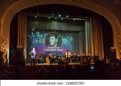 ODESSA, UKRAINE September 9, 2018: Musical show, Variety Symphony Orchestra on the stage of Odessa National Opera and Ballet Theater. Orchestra instruments on stage, musicians on stage of the theater