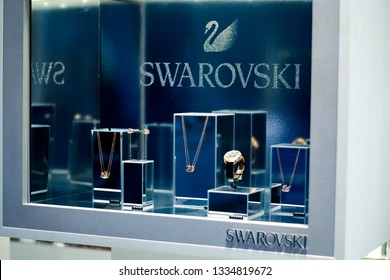 Odessa, Ukraine-02/09/19: Showcase of a boutique of Swarovski jewelry in Odessa. Swarovski - Austrian lead glass manufacturer