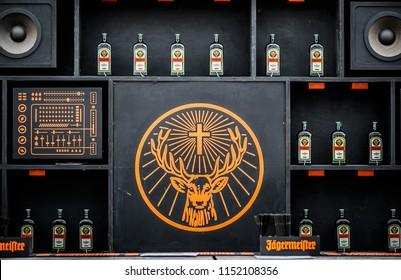 ODESSA-23 AUGUST,2017: Jagermeister alcohol drinks in bar. Summer festival restaurant interior