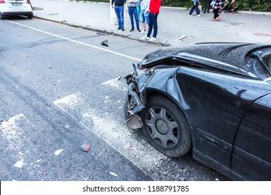 ODESSA,UKRAINE -09,24 2018: broken cars as result of traffic accident on pedestrian crossing. Accident. Road accident on marking of pedestrian crossing, car crash, collision, insurance case on highway