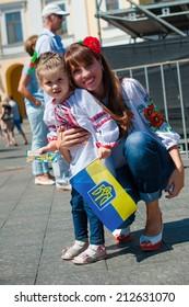"""ODESSA,UKRAINE - AUGUST 23: festival vishivanok """"Odessa - Ukraine is"""",competition devoted to Ukraine at  Independence Day,annual event. August 23,2014 in Odessa,Ukraine"""