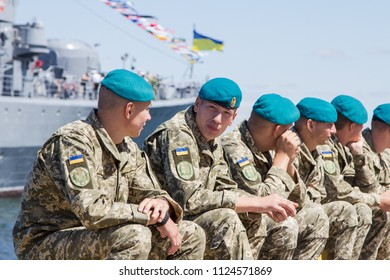 Odessa/Ukraine - July 1, 2018: Excursions to warships for Odessa citizens and other guests of the city on day of the Navy in the port of Odessa in July 1, 2018