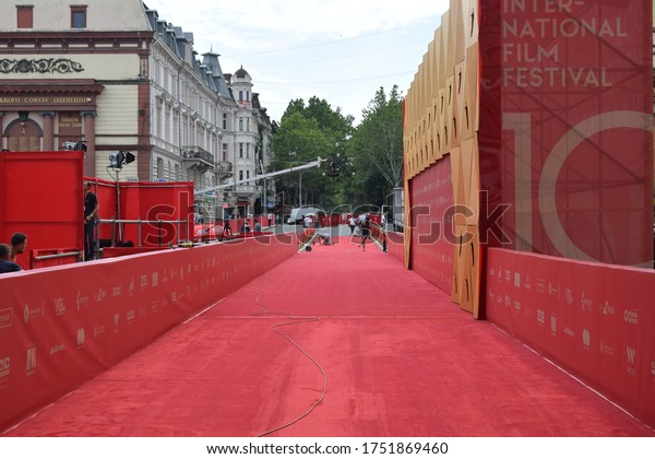Odessa/Ukraine - July 12, 2019: construction of red carpet for 10 Odesa international film festival. Red carpet event in Odessa downtown. Preparation for red carpet event.