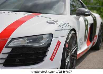 ODESSA,UKRAINE - MAY 2019: Audi R8 supercar blurred background on Odessa supercars run