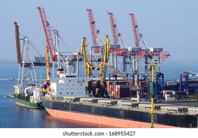 ODESSA,UKRAINE - OCTOBER 13:Container ship in Odessa sea port on October 13, 2013 in Odessa,Ukraine.Odessa Marine Trade Port is largest Ukrainian seaport and one of largest ports in Black Sea