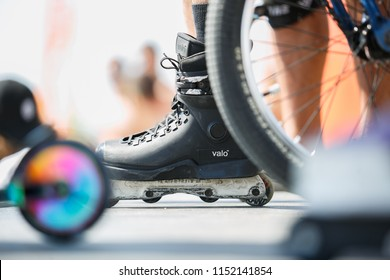 ODESSA,UKRAINE-21 AUGUST,2017:Aggressive in-line skates on roller skater feet.Roller blader wearing professional Valo inline skates for extreme skating.Roller skater in aggressive skates