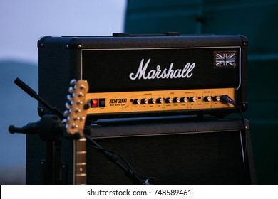 ODESSA,UKRAINE-21 AUGUST,2017:Professional Marshall pre amp on stage.Rock concert audio equipment.Classic analog amplifier for musician on rock concerts