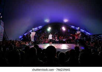 ODESSA,UKRAINE-23 AUGUST,2017: Red Bull BC One Cypher break dance contest.Break dancing championship on youth hip hop culture summer festival