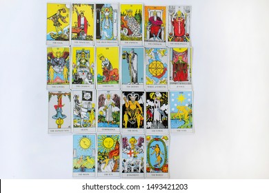 Odessa/Ukraine-July 25,2019:Tarot prediction esoteric all major arcana set cards of Rider-Waite deck on white background