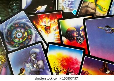 Odessa/Ukraine-September 2,2019:Tarot esoteric cards of Osho Zen tarot spiritual metaphysical deck top view