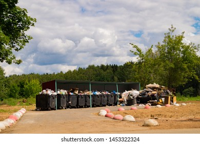 Odinzovo, Moscow Region / Russia – July 9th, 2019: Overflowing garbage containers indicate problems with Russia´s waste management program as the country strugles to implement recycling technologies.