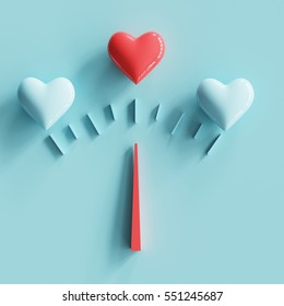 Odometer Love concept with red heart and blue heart on pastel background. minimal concept.
