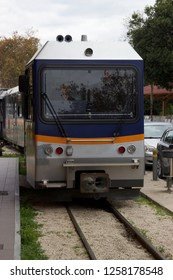 Odontotos new small train is approaching the railway station at the town of Diakopto in Achaea Greece to take passengers and tourists to Kalavryta city