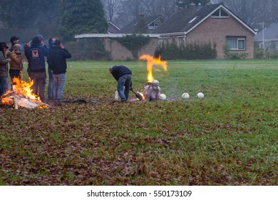 Odoorn ,Netherlands - December 31, 2016 : A man firing the Carbide, Carbid Schieten tradition in the south and Northeast of the Netherlands on the last day of year