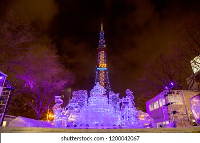 Odori Park, Sapporo, Hokkaido Japan - February 2018 : Snow sculpture of palace with Sapporo TV tower background in Sapporo Snow Festival. Festival is held once a years