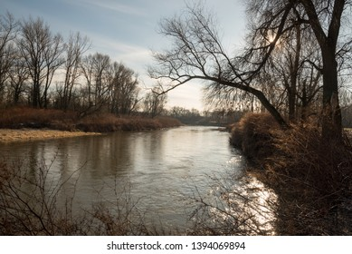 Odra river on Hranicni meandry Odry on czech-polish borders near Bohumin and Chalupk during beautiful day with ble sky