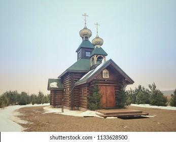 Odrynki, Poland - January 27, 2018: Church of Orthodox skete of St Anthony and Theodosius of Kiev Caves in Odrynki, small village in Podlasie region of Poland