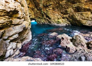Odysseus cave on island Mljet.Croatia