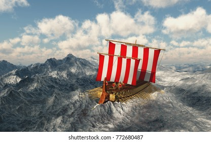 Odysseus and his companions in the stormy sea Computer generated 3D illustration