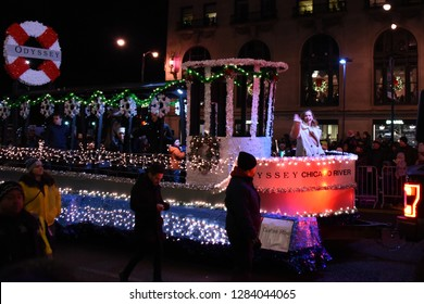 Odyssey Chicago River Cruise parade float in the Festival of Lights Parade, Chicago, IL November 17, 2018