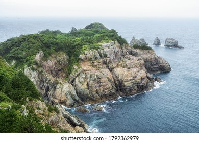 Oedo botanical garden and the view of the ocean. Oedo is a famous tourist attraction in Geoje, South Korea