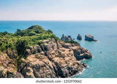 Oedo-Botania island blue ocean and nature cliff in Geoje, Korea