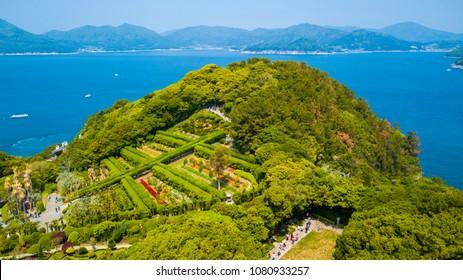 Oedo-Botania island, garden scenery at summer day in Geoje island of South Korea.