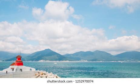 Oedo-Botania island port and emerald sea in Geoje, Korea