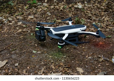 Oegstgeest, Netherlands, 09-07-2018: A close up shot of a GoPro Karma Drone that is ready to take off in a forest