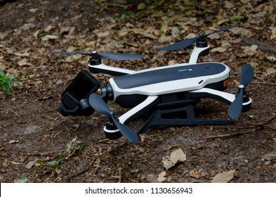 Oegstgeest, Netherlands, 09-07-2018: A close up shot of a GoPro Karma Drone that is standing in a forest in the Netherlands