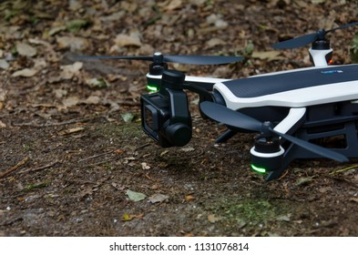 Oegstgeest, Netherlands, 09-07-2018: A drone from gopro karma with a drone attached to it is ready to take off in a forest
