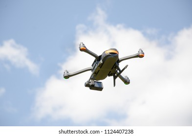 Oegstgeest, Netherlands, 28-06-2018: A drone (GoPro Karma) flying in the air