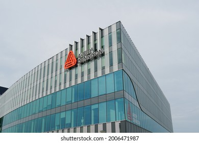 Oegstgeest, the Netherlands. July 2021. Avery Dennison company building, a international materials science and manufacturing company.