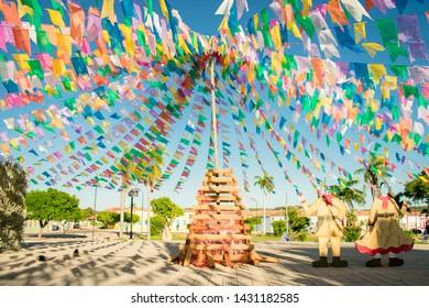 Oeiras, Brazil - Circa June 2019: Decorations for the June Festivals (aka festas de Sao Joao) in the historic center of Oeiras, Piaui