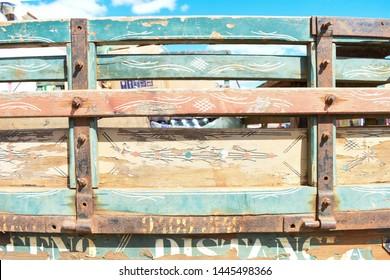 Oeiras, Brazil - Circa June 2019: Traditional truck art design on old truck in Oeiras, Piaui state (Northeast Brazil)