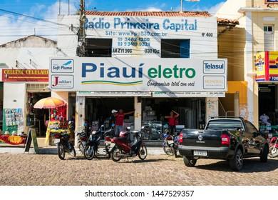 Oeiras, Brazil - Circa June 2019: Store facades in the historic center of Oeiras, Piaui