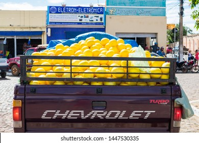 Oeiras, Brazil - Circa June 2019: Melon for sale on the back of a truck in the historic center of Oeiras