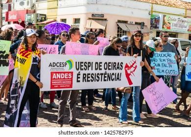 Oeiras, Brazil - June 14, 2019: Brazilian General Strike against Bolsonaro's pension reforms in Oeiras, Piaui