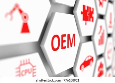 OEM concept cell blurred background 3d illustration