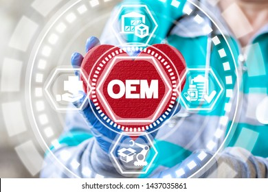 OEM Original Equipment Manufacturer Health Medications concept. Pharmacist or doctor holds red heart with OEM text. Production and procurement medicinal goods, drugs.