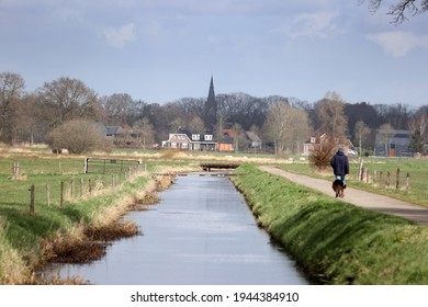 Oene, the Netherlands- March 27, 2021: view of the church of Heerde from Oene in Gelderland, the Netherlands