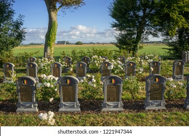 Oeren, Belgium - August 5, 2018: Belgian World War 1 cemetery in Oeren West Flanders Belgium