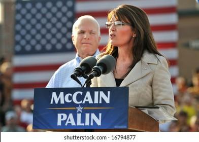 O'FALLON - AUGUST 31: Saran Palin speaks as Senator McCain looks on at an appearance in O'Fallon near St. Louis, MO on August 31, 2008