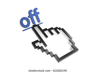 off. 3d rendered inscription. Link and finger, pointer. Isolated on white