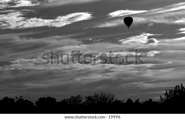Off Course:  Inspirational depiction of a hot air balloon loosing its way.