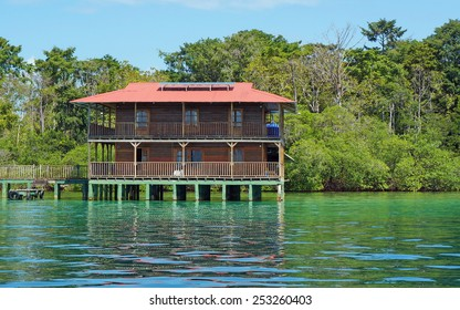 Off grid Caribbean house over water and solar powered, Panama, Central America