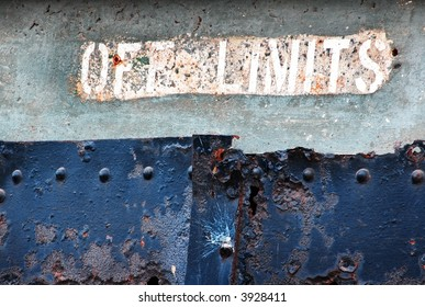 Off Limits - old decaying military bunker painted notice