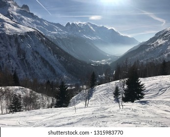 Off piste backcountry skiing in the Alps, France